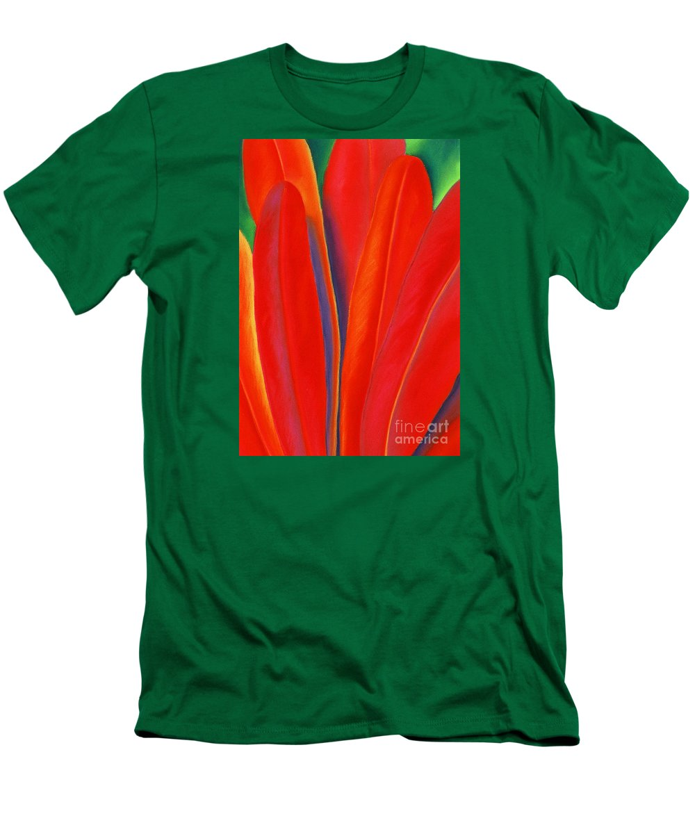 Red Men's T-Shirt (Slim Fit) featuring the painting Red Petals by Lucy Arnold