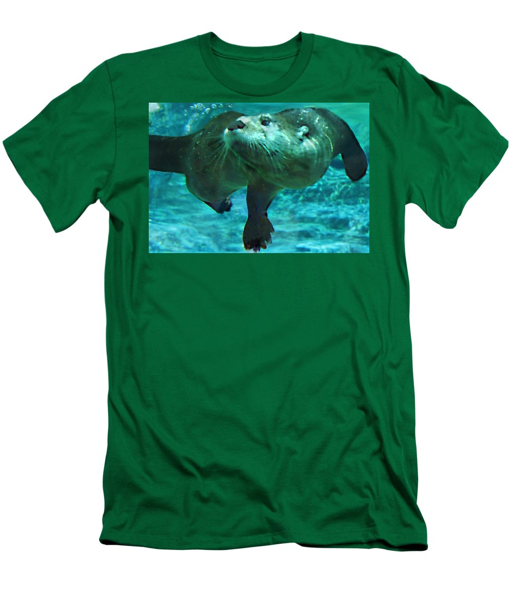 Animal Men's T-Shirt (Athletic Fit) featuring the photograph River Otter by Steve Karol