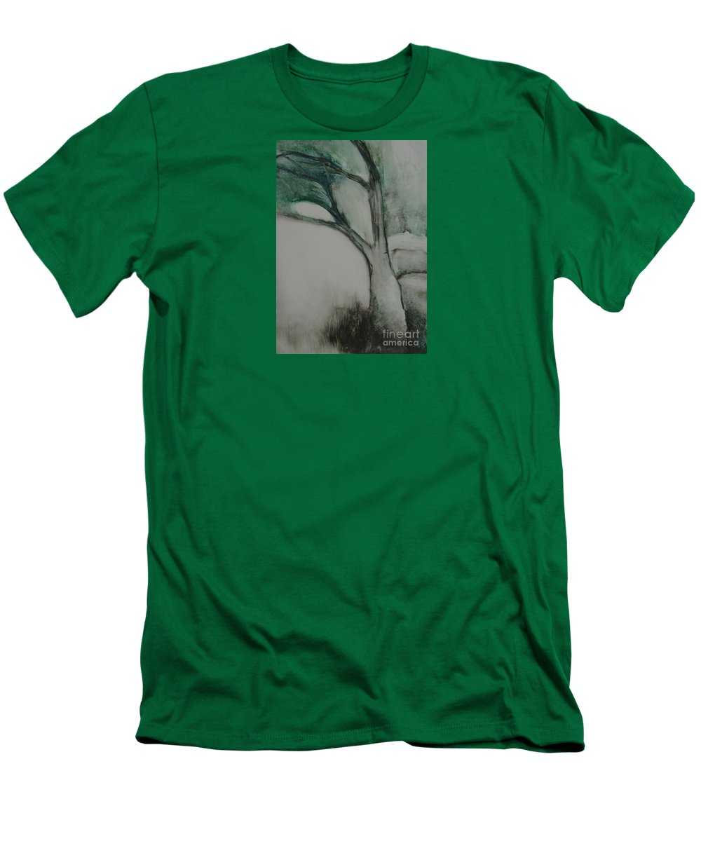 Monoprint Tree Rock Trees Men's T-Shirt (Athletic Fit) featuring the painting Rock Tree by Leila Atkinson