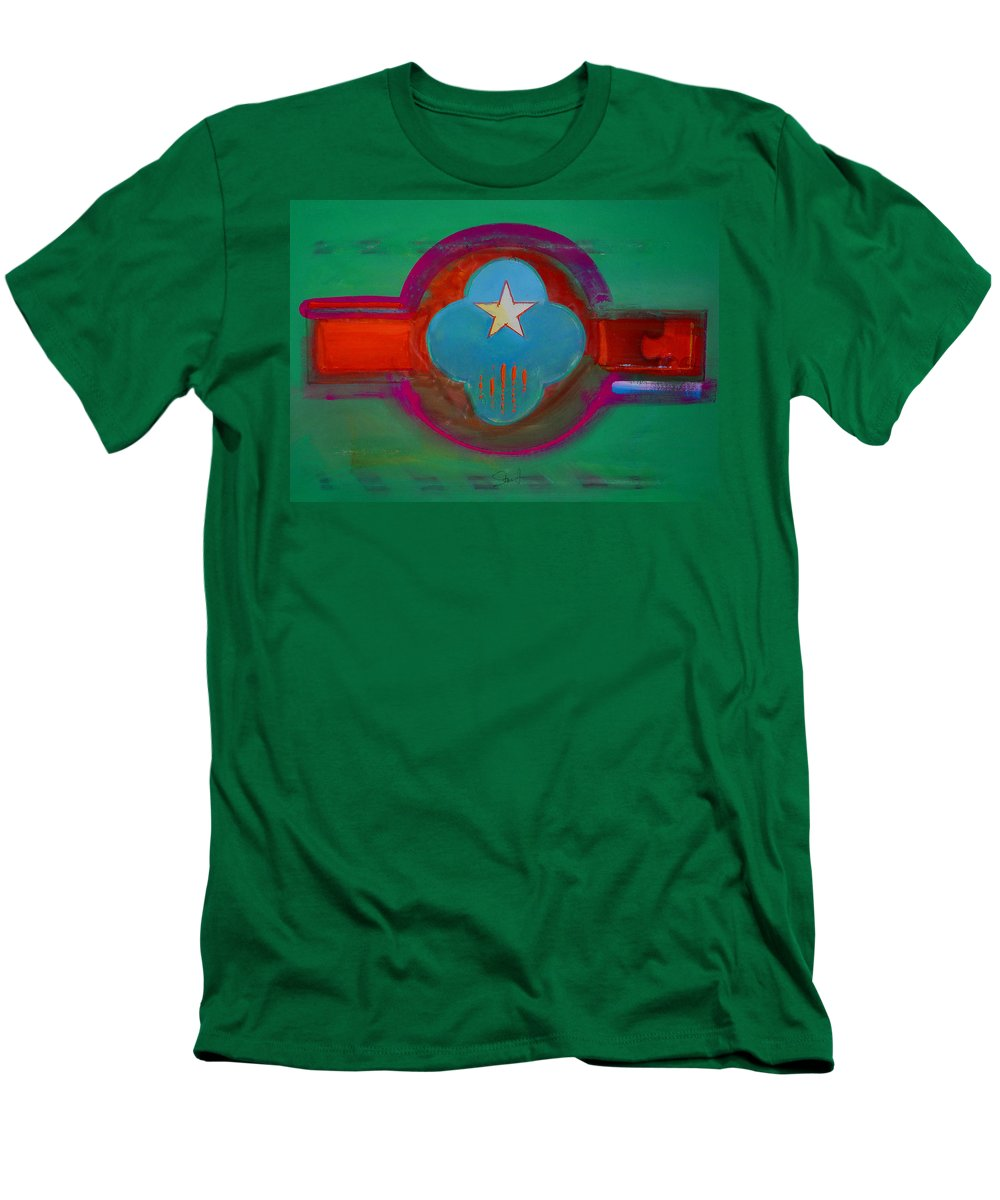 Star Men's T-Shirt (Athletic Fit) featuring the painting Spiritual Green by Charles Stuart