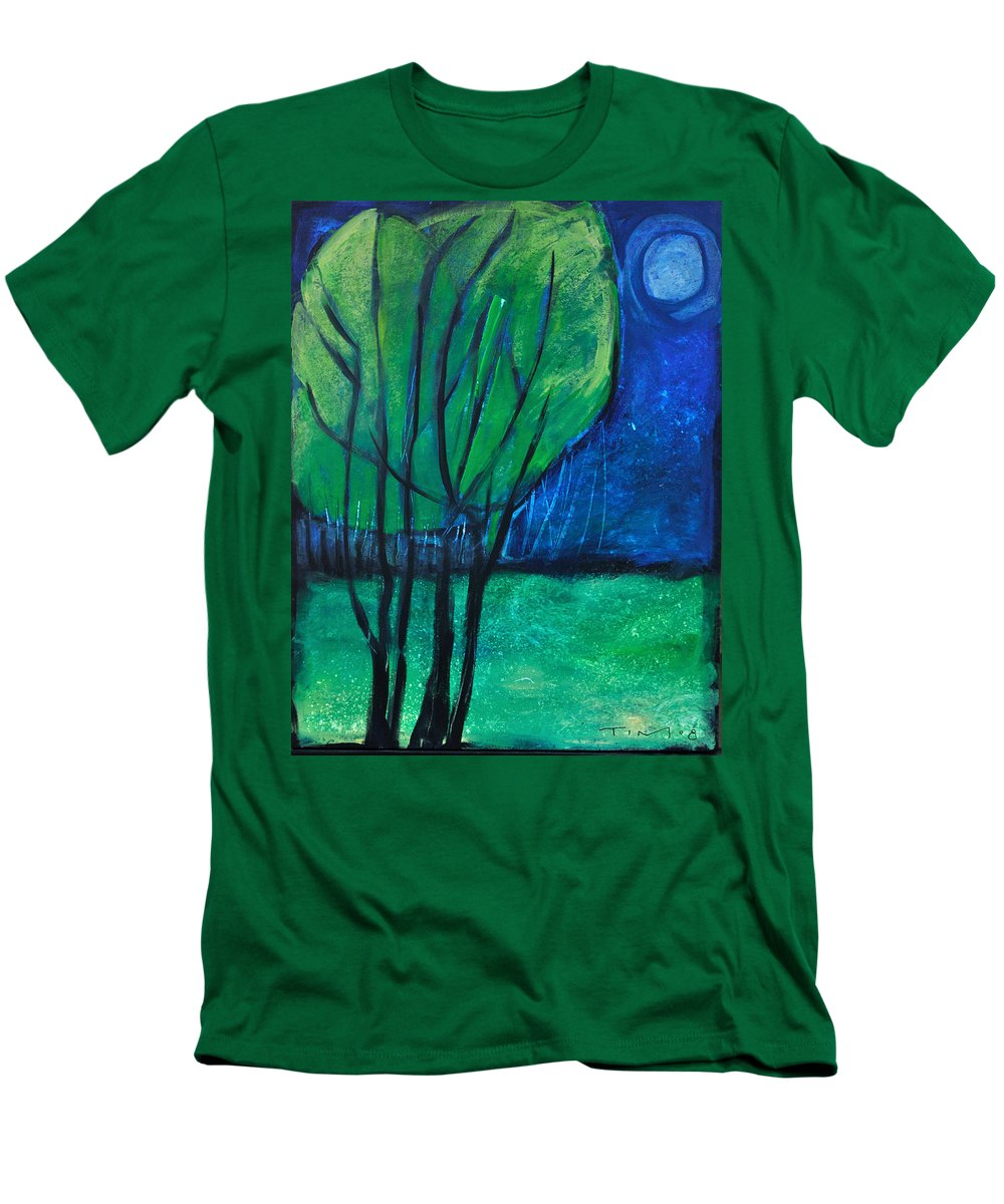 Trees Men's T-Shirt (Athletic Fit) featuring the painting Then Came Evening by Tim Nyberg