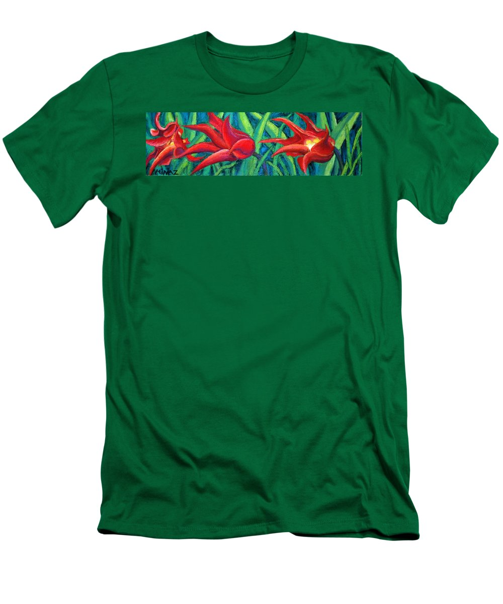 Tulips Men's T-Shirt (Athletic Fit) featuring the painting Triple Tease Tulips by Minaz Jantz