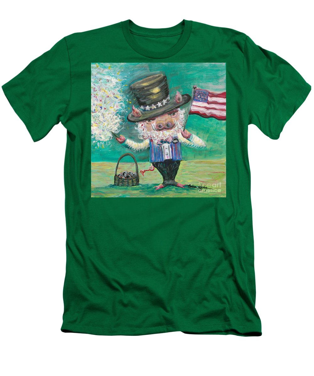 Fourth Of July Men's T-Shirt (Athletic Fit) featuring the painting Uncle Spam by Nadine Rippelmeyer