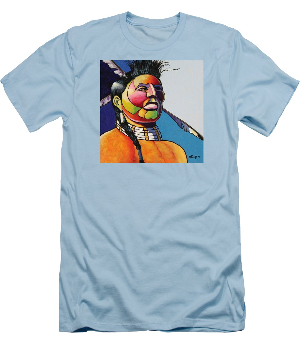 Native American Men's T-Shirt (Athletic Fit) featuring the painting Indian Portrait by Joe Triano