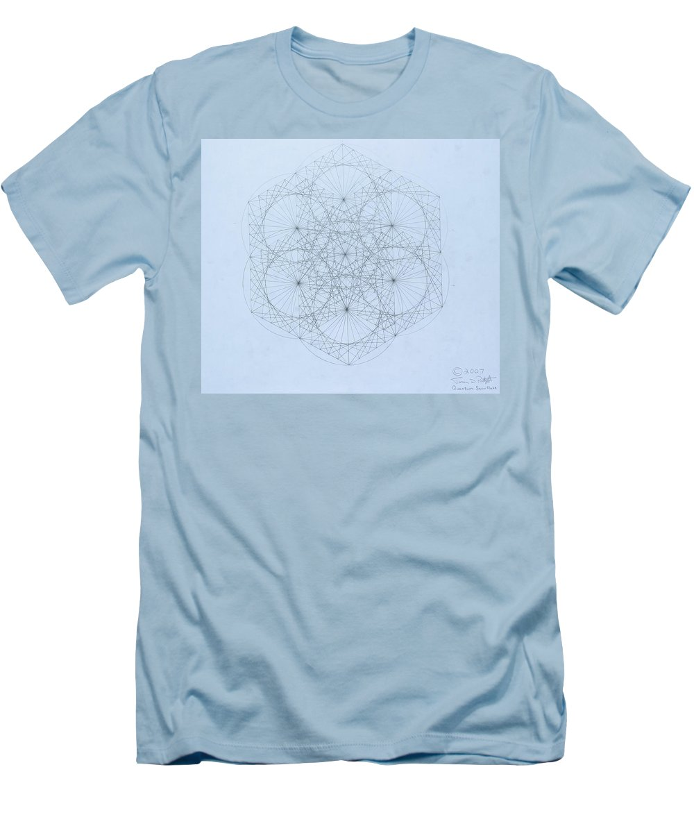 Jason Padgett Men's T-Shirt (Athletic Fit) featuring the drawing Quantum Snowflake by Jason Padgett