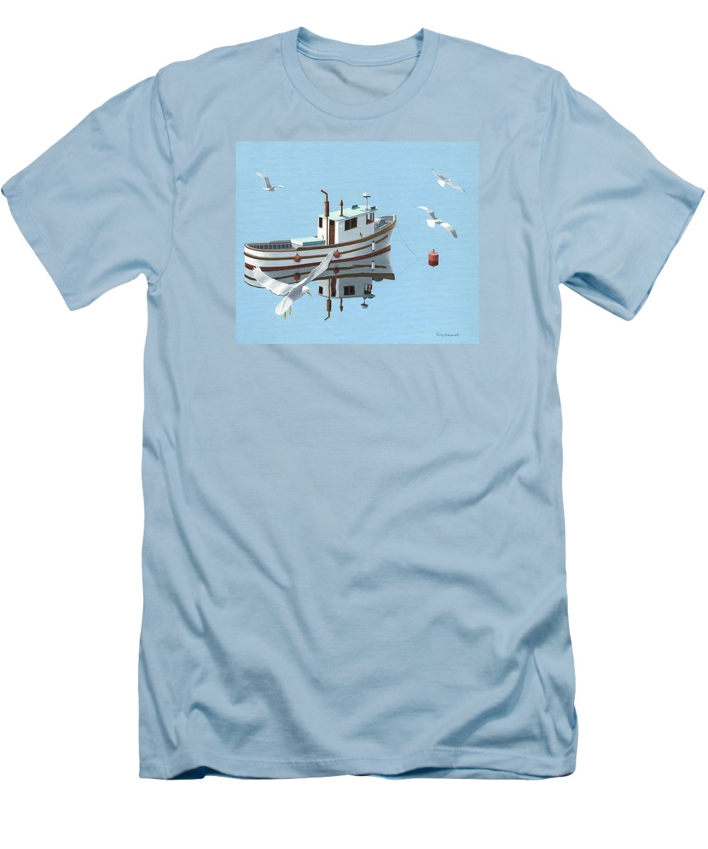 Boat Men's T-Shirt (Athletic Fit) featuring the painting A Contemplation Of Seagulls by Gary Giacomelli