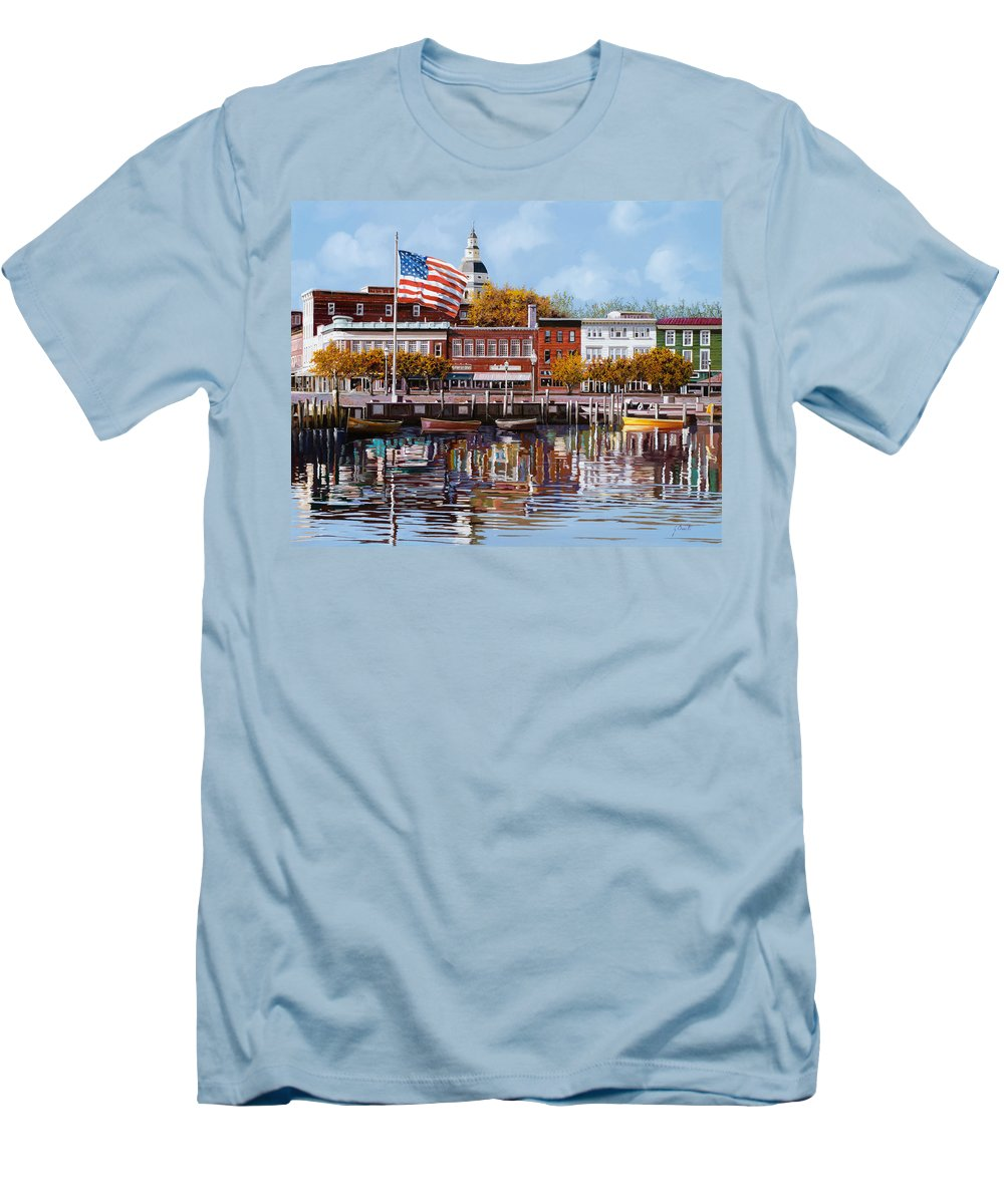 Annapolis Men's T-Shirt (Athletic Fit) featuring the painting Annapolis by Guido Borelli