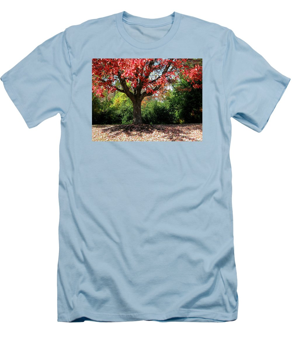 Autumn Men's T-Shirt (Athletic Fit) featuring the photograph Autumn Ablaze by Ann Horn