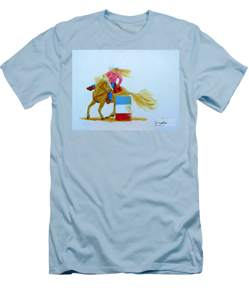 Rodeo Men's T-Shirt (Athletic Fit) featuring the painting Barrel Racer by Anthony Dunphy