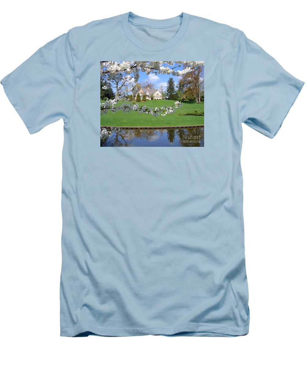 Spring Men's T-Shirt (Athletic Fit) featuring the photograph Blossom-framed House by Ann Horn