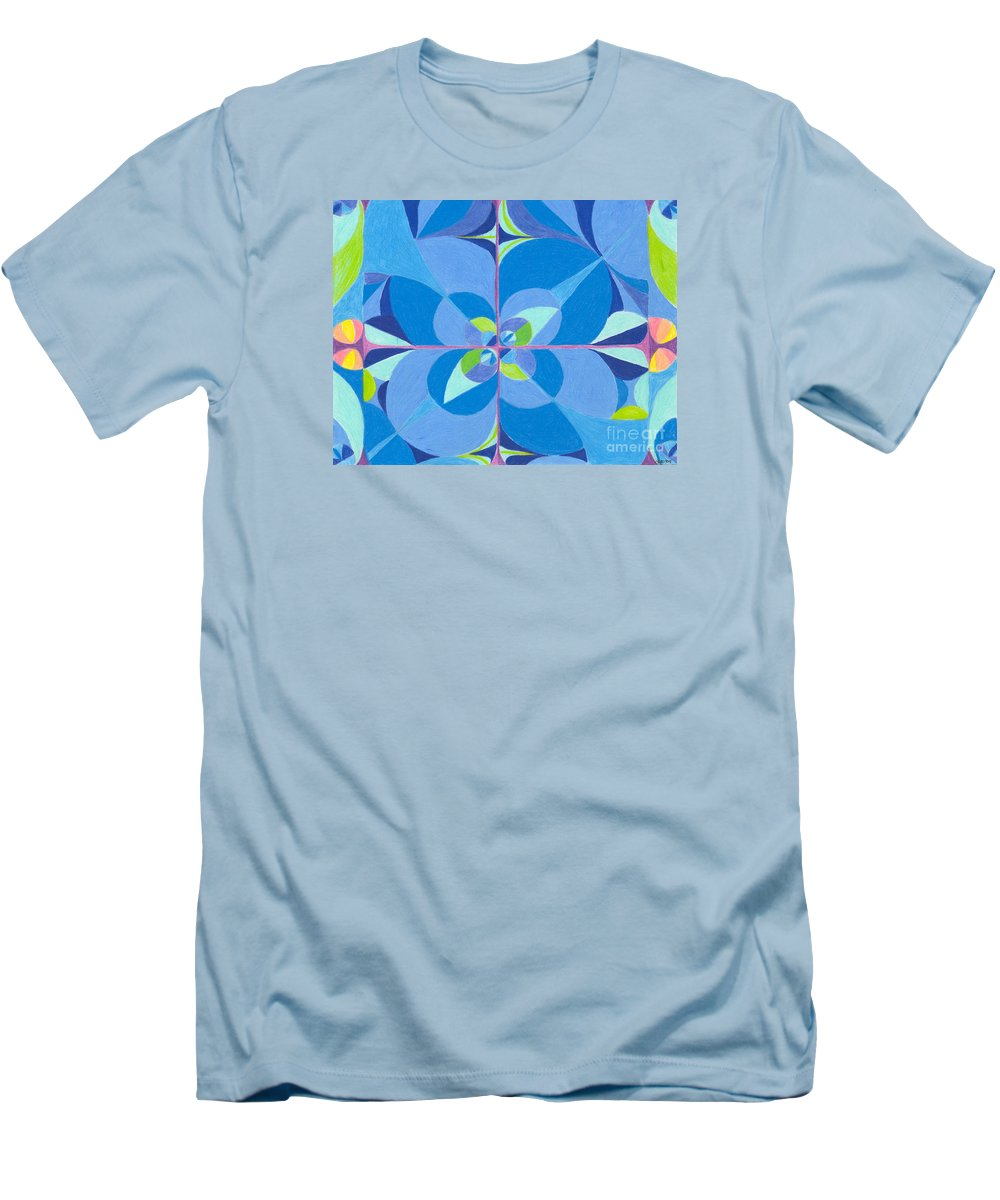Color Men's T-Shirt (Athletic Fit) featuring the drawing Blue Unity by Kim Sy Ok