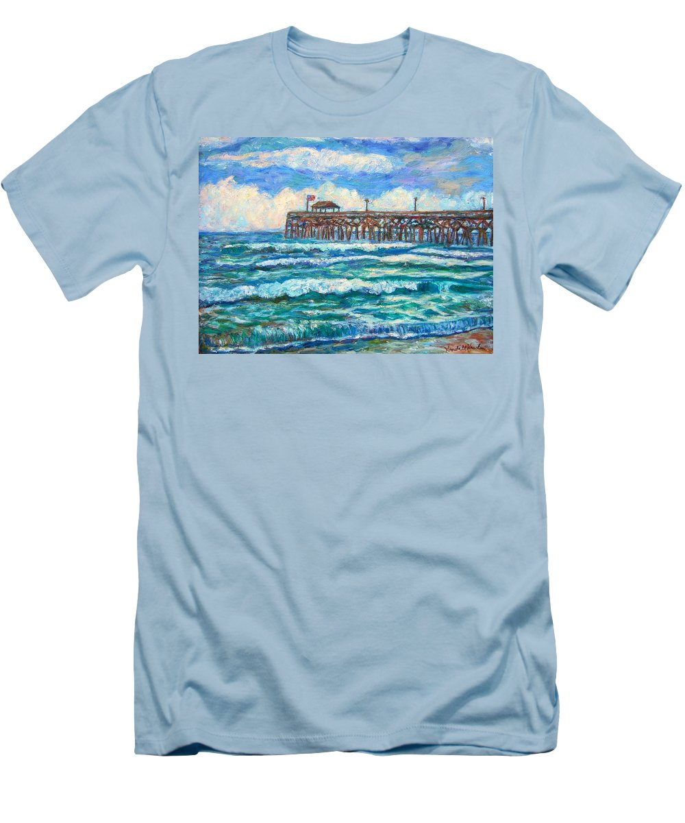 Shore Scenes Men's T-Shirt (Athletic Fit) featuring the painting Breakers At Pawleys Island by Kendall Kessler