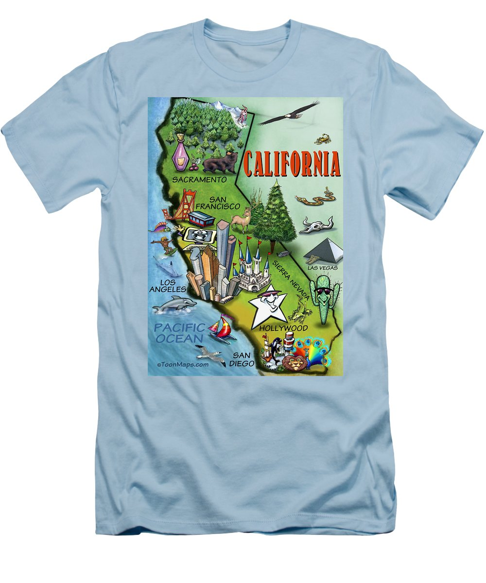 California Men's T-Shirt (Athletic Fit) featuring the digital art California Cartoon Map by Kevin Middleton