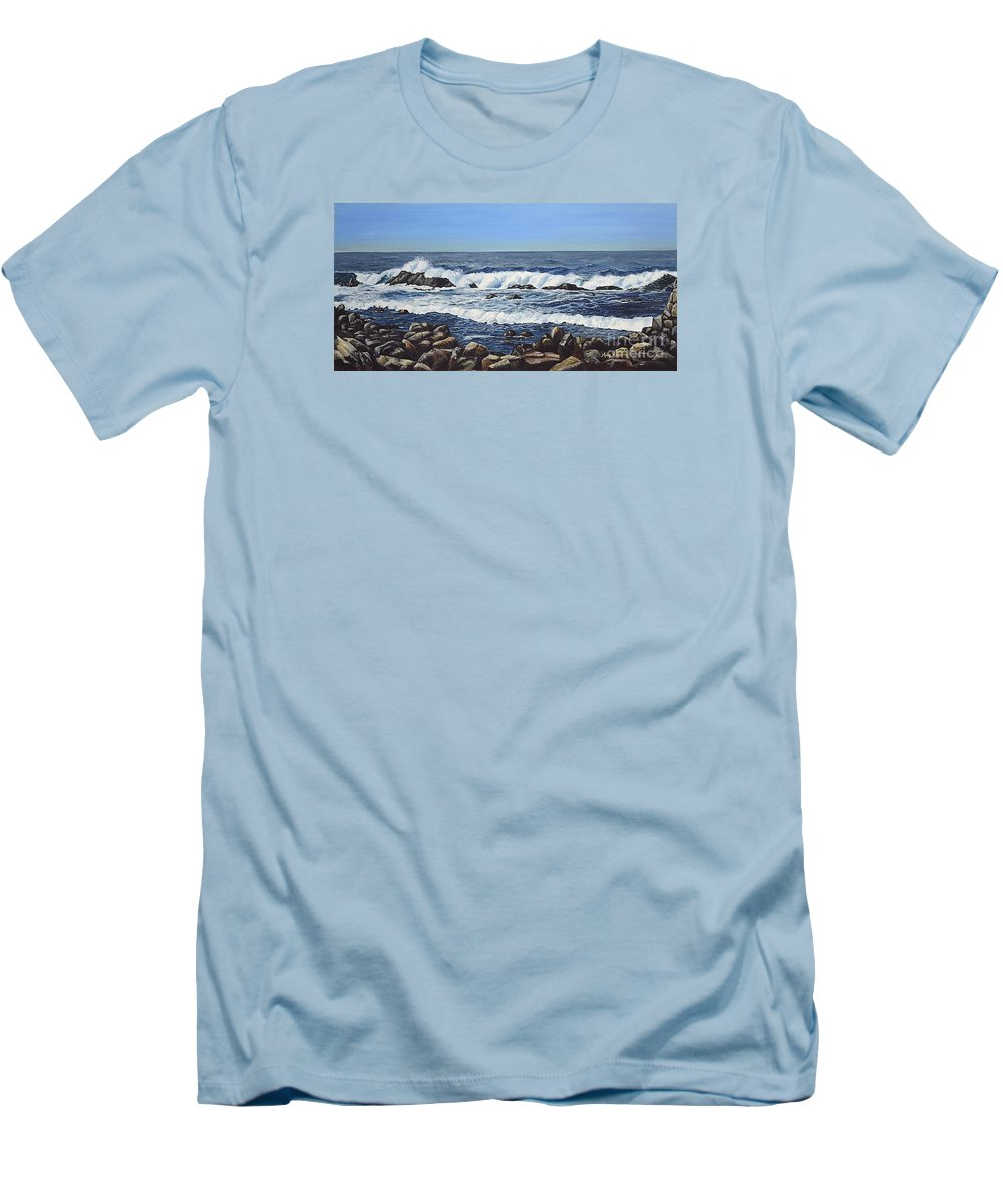 Art Men's T-Shirt (Athletic Fit) featuring the painting California Coastline by Mary Rogers