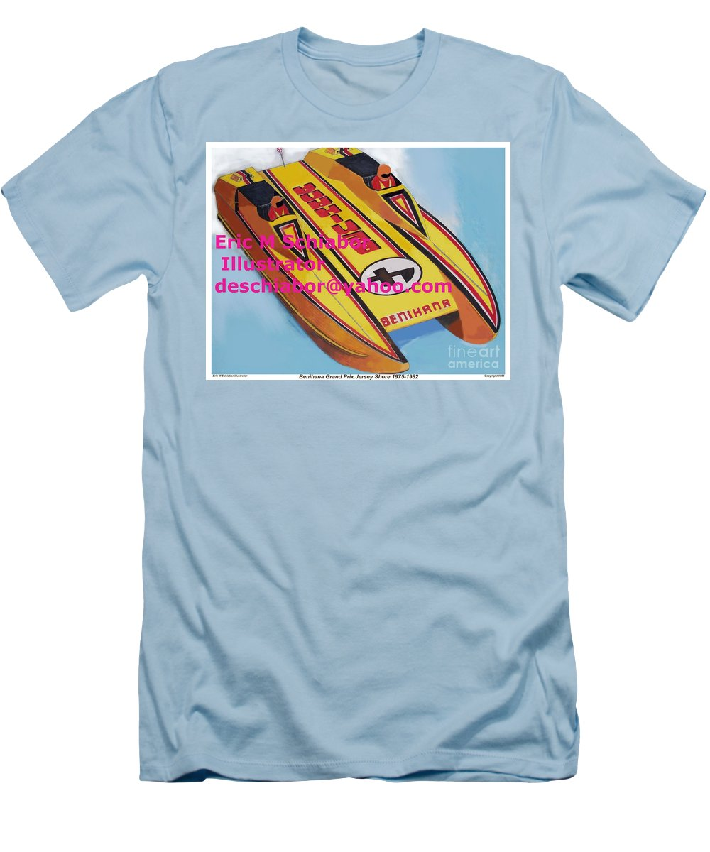Power Boat Men's T-Shirt (Athletic Fit) featuring the painting Cigarett Power Boat Illustration by Eric Schiabor