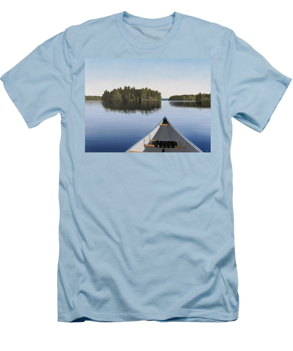Canoe Men's T-Shirt (Athletic Fit) featuring the painting Early Evening Paddle by Kenneth M Kirsch