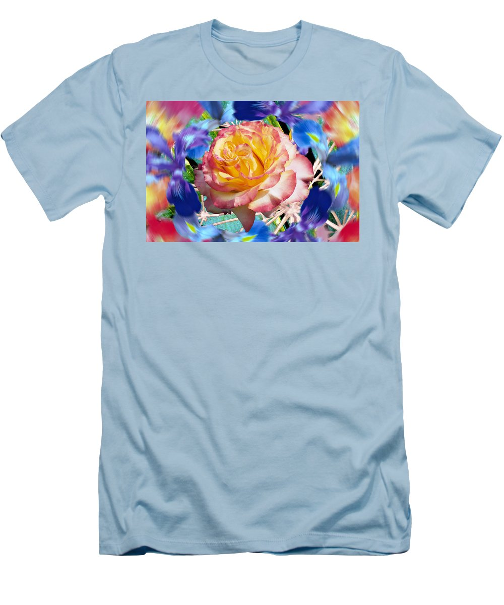 Flowers Men's T-Shirt (Athletic Fit) featuring the digital art Flower Dance 2 by Lisa Yount