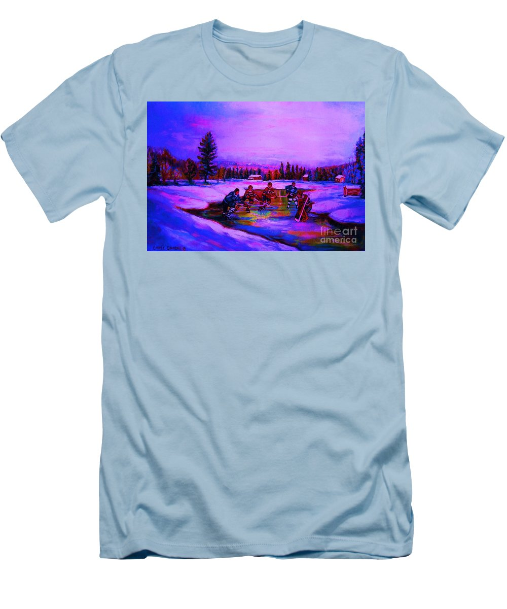 Hockey Men's T-Shirt (Athletic Fit) featuring the painting Frozen Pond by Carole Spandau