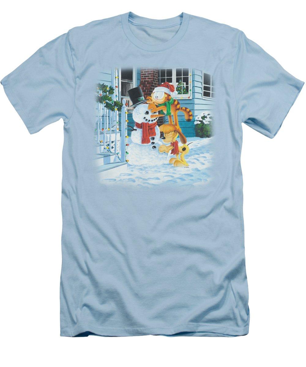 Garfield T-Shirt featuring the digital art Garfield - Snow Fun by Brand A