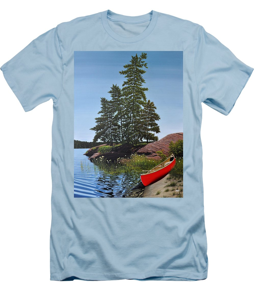 Landscapes Men's T-Shirt (Athletic Fit) featuring the painting Georgian Bay Beached Canoe by Kenneth M Kirsch