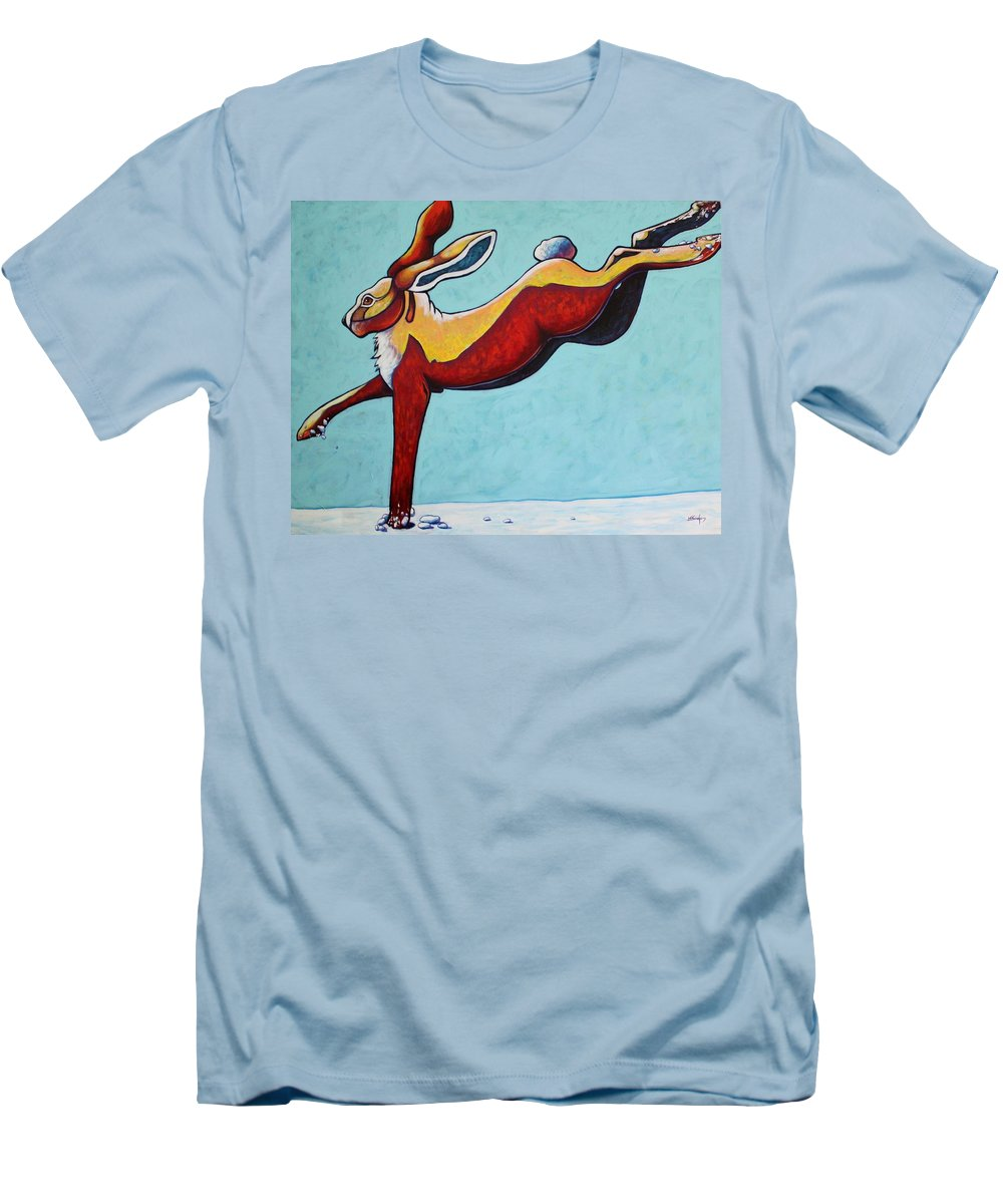 Wildlife Men's T-Shirt (Athletic Fit) featuring the painting High Tailing It - Jackrabbit by Joe Triano