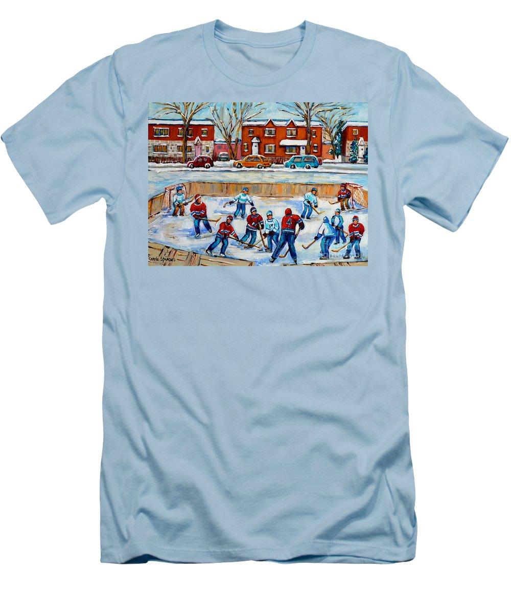 Hockey At Van Horne Montreal Men's T-Shirt (Athletic Fit) featuring the painting Hockey Rink At Van Horne Montreal by Carole Spandau