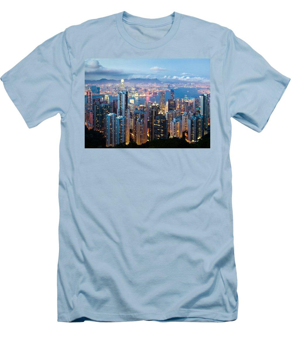 Hong Kong Men's T-Shirt (Athletic Fit) featuring the photograph Hong Kong At Dusk by Dave Bowman