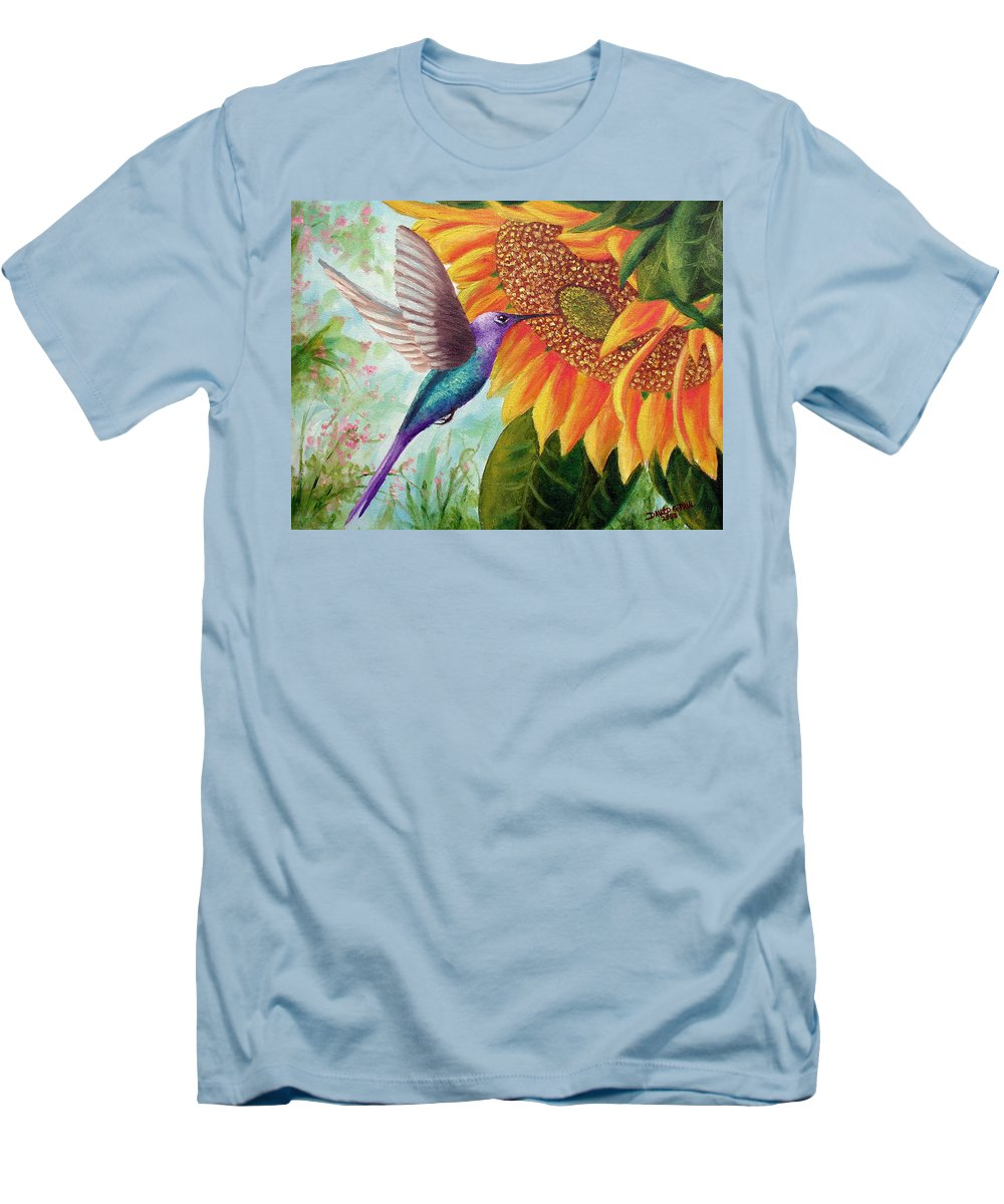 Hummingbird Men's T-Shirt (Athletic Fit) featuring the painting Humming For Nectar by David G Paul