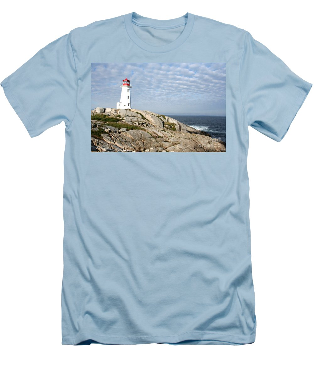 Lighthouse Men's T-Shirt (Athletic Fit) featuring the photograph Lighthouse At Peggys Point Nova Scotia by Thomas Marchessault
