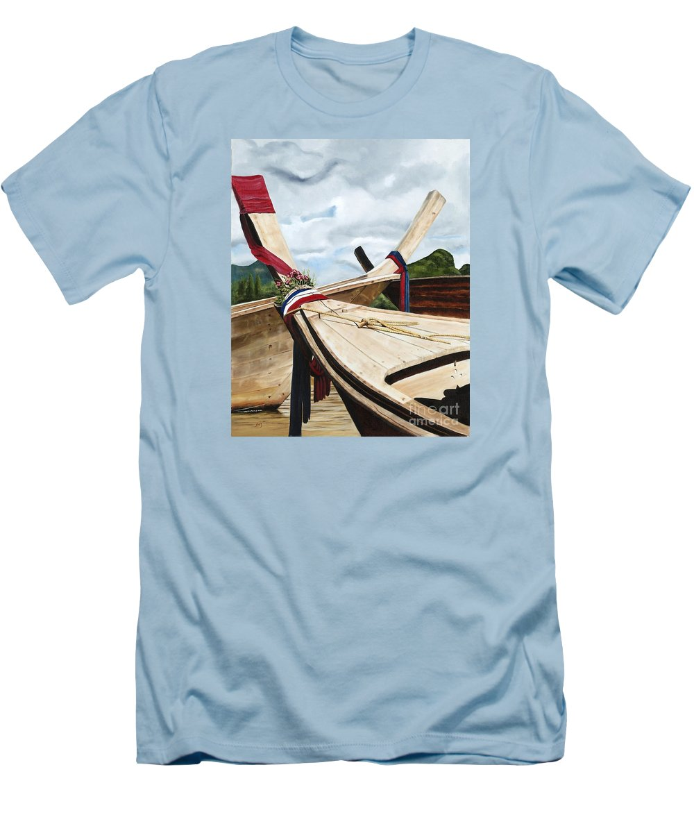 Art Men's T-Shirt (Athletic Fit) featuring the painting Long Tail Boats Of Krabi by Mary Rogers