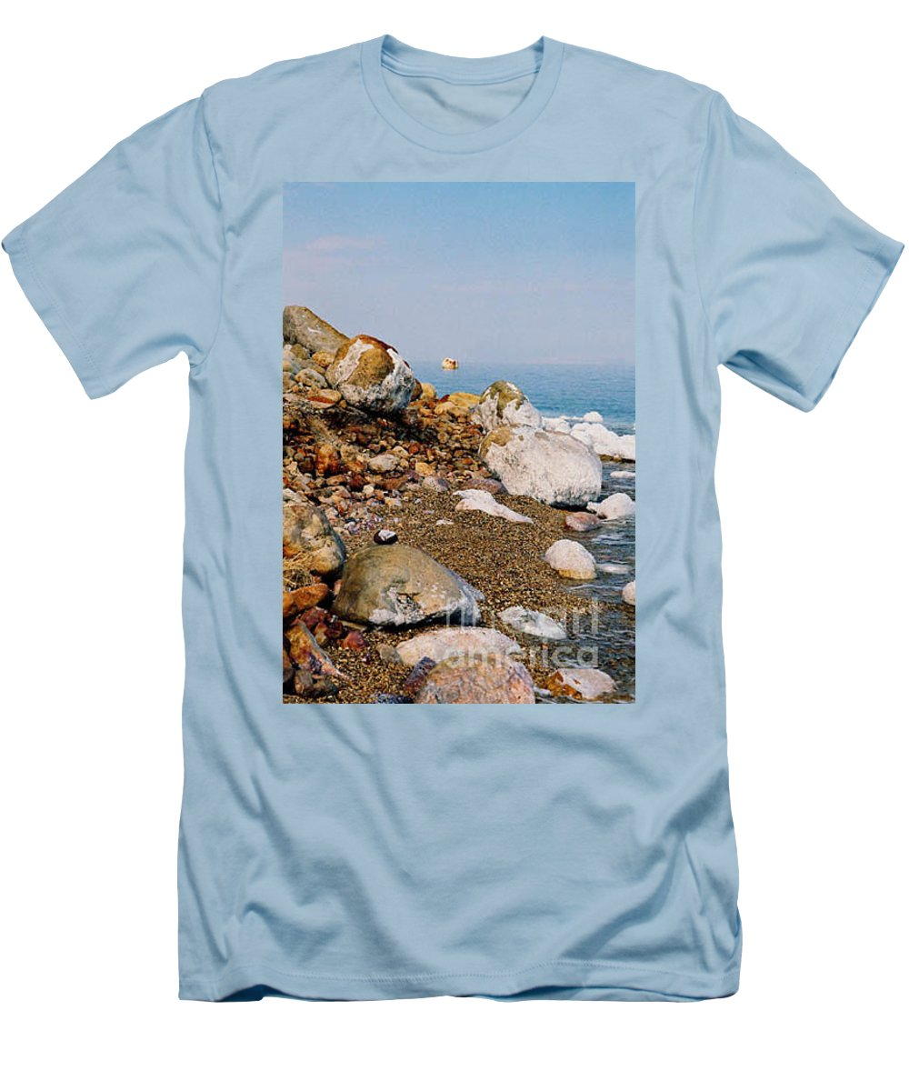 Dead Sea Men's T-Shirt (Athletic Fit) featuring the photograph Lot's Wife by Kathy McClure