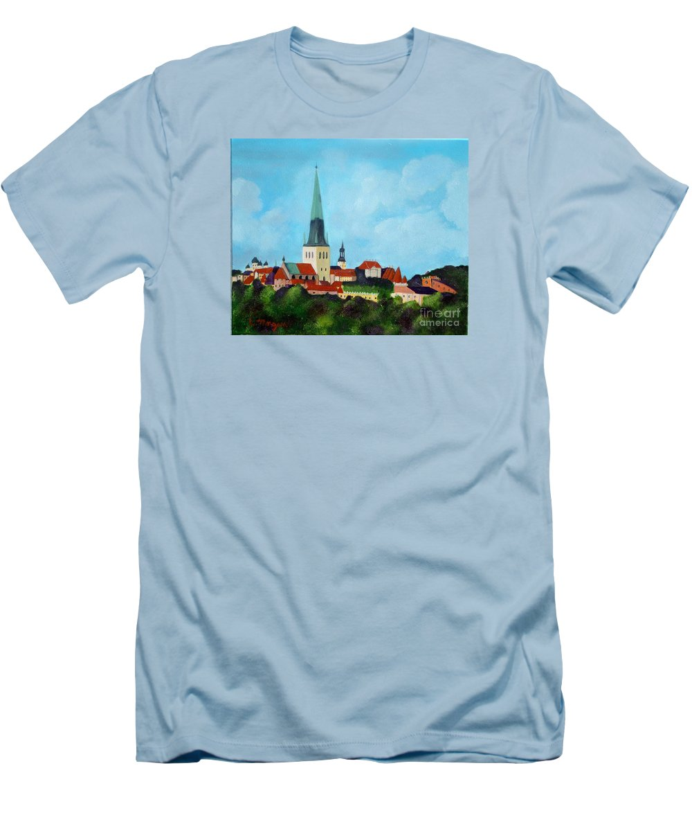 Tallinn Men's T-Shirt (Athletic Fit) featuring the painting Medieval Tallinn by Laurie Morgan