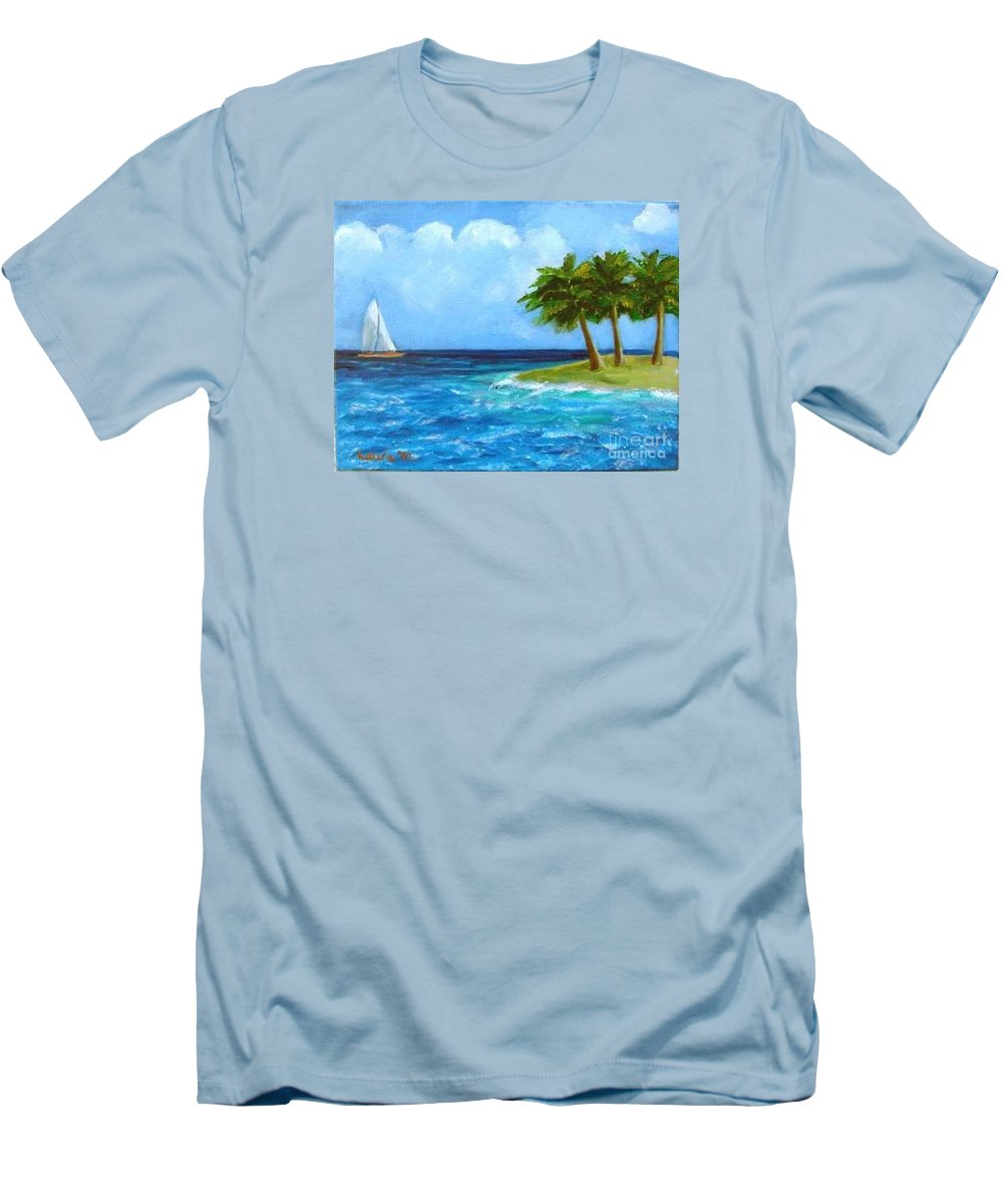 Boats Men's T-Shirt (Athletic Fit) featuring the painting Perfect Sailing Day by Laurie Morgan