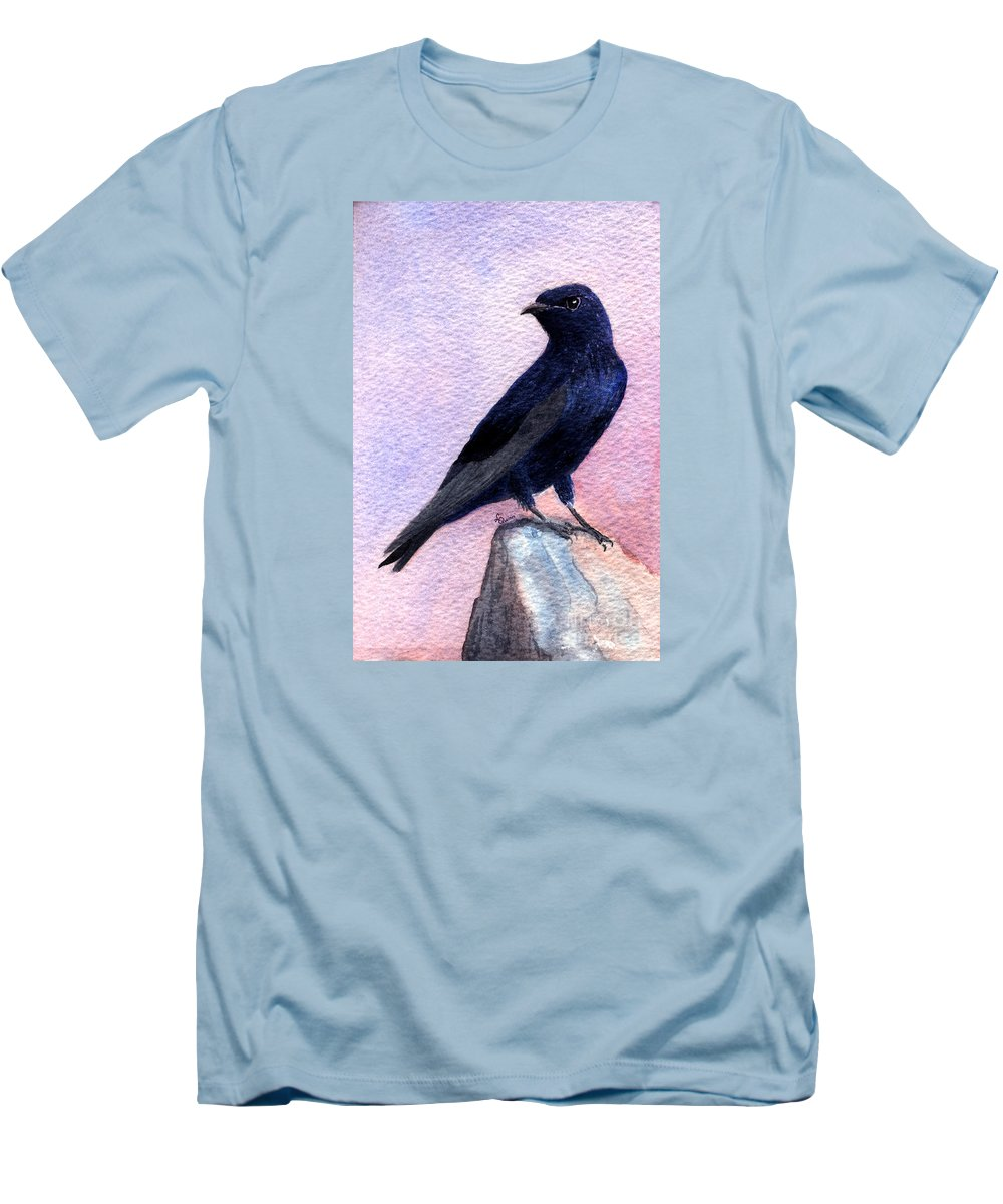Bird Men's T-Shirt (Athletic Fit) featuring the painting Purple Martin by Lynn Quinn