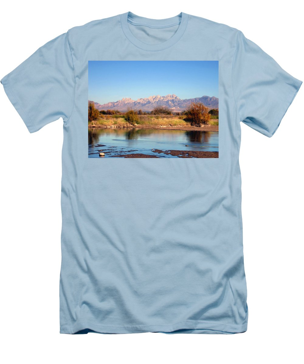 River Men's T-Shirt (Athletic Fit) featuring the photograph River View Mesilla by Kurt Van Wagner