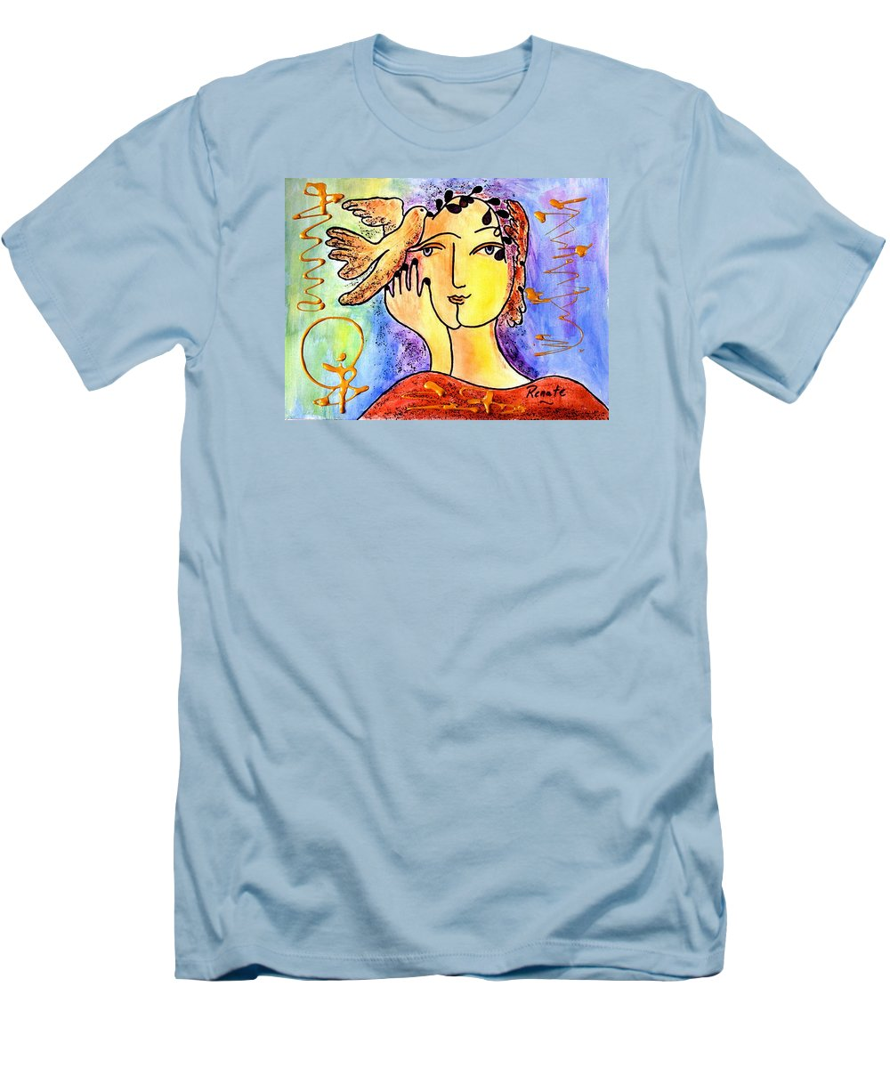 Mystical-woman-portrait Men's T-Shirt (Athletic Fit) featuring the painting The Dove Whisperer by Renate Dartois