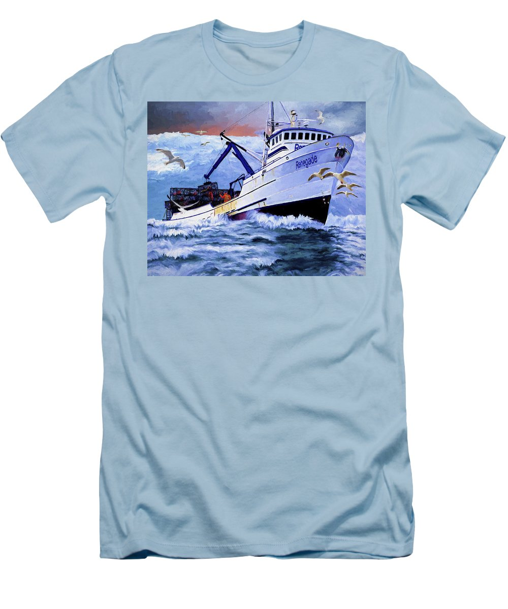 Alaskan King Crabber Men's T-Shirt (Athletic Fit) featuring the painting Time To Go Home by David Wagner
