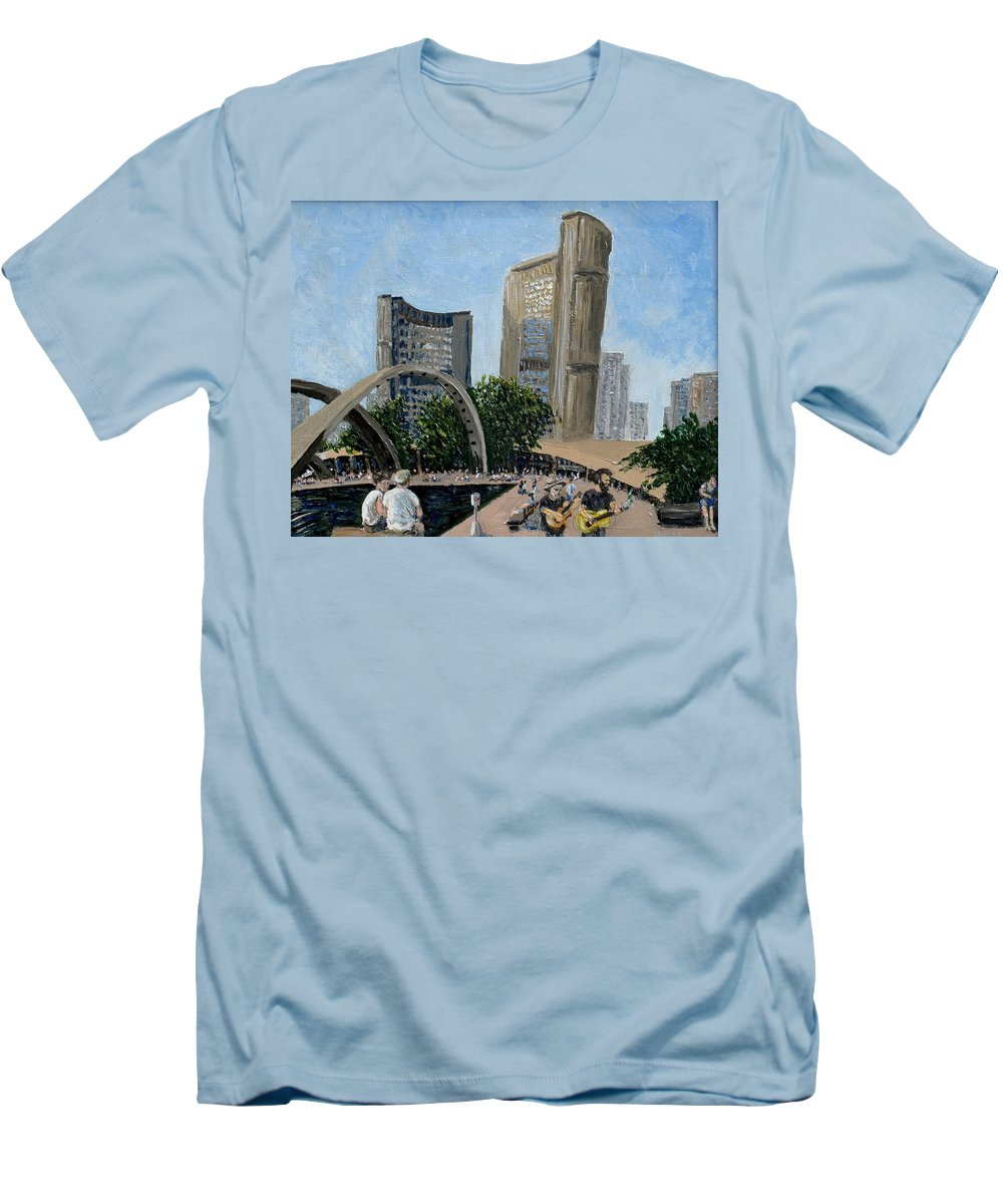 Toronto Men's T-Shirt (Athletic Fit) featuring the painting Toronto City Hall by Ian MacDonald