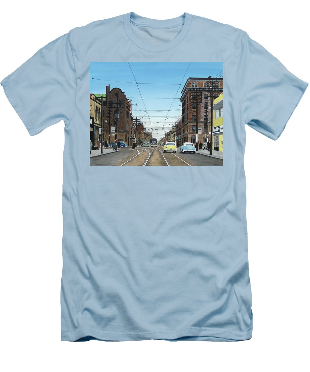Streetscapes Men's T-Shirt (Athletic Fit) featuring the painting Toronto Yonge And Bloor 1954 by Kenneth M Kirsch