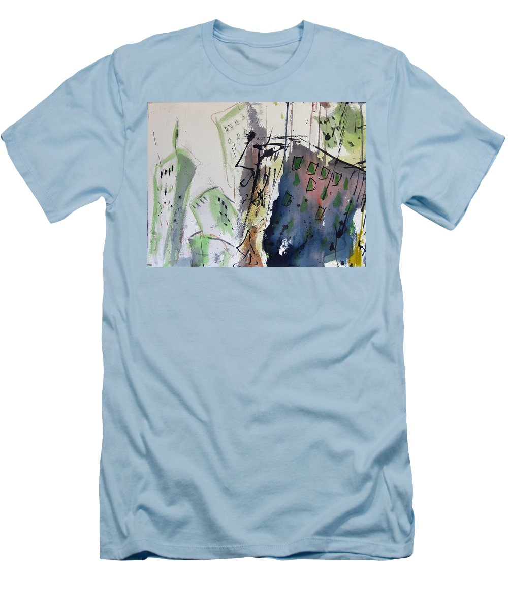 City Men's T-Shirt (Athletic Fit) featuring the painting Uptown by Robert Joyner