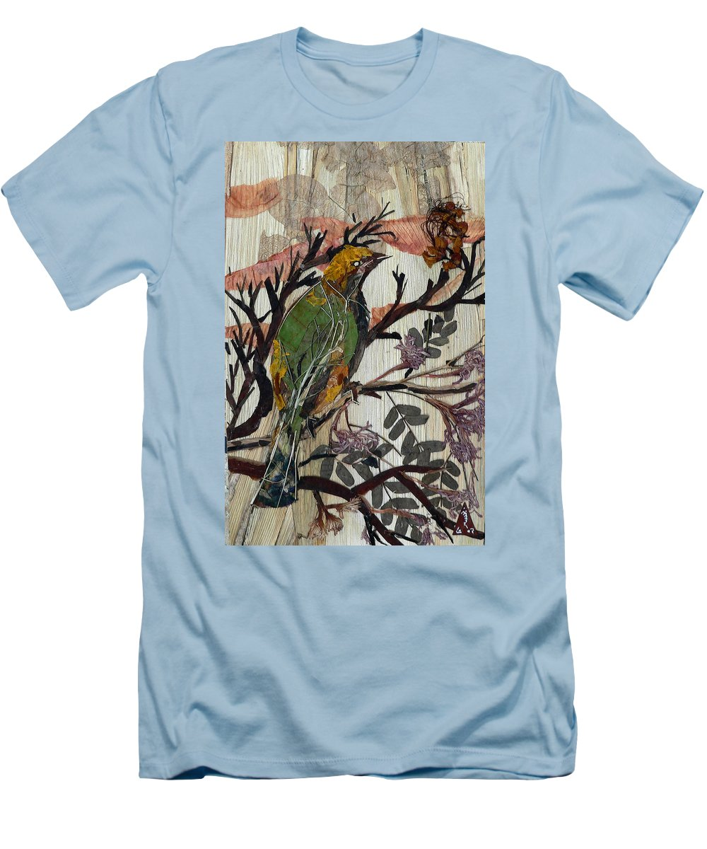 Green Bird Men's T-Shirt (Athletic Fit) featuring the mixed media Green-yellow Bird by Basant Soni