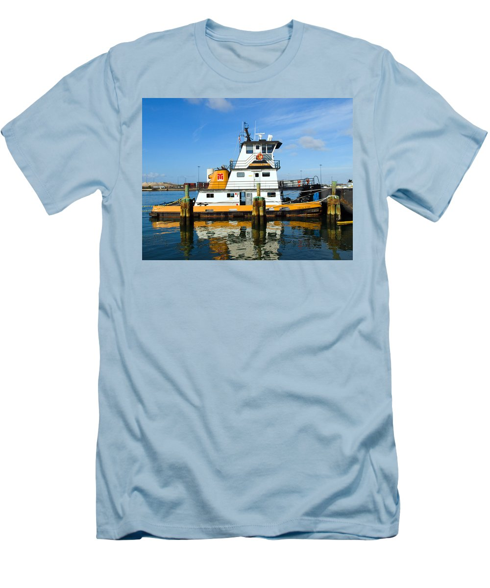 Florida; East; Space; Coast; Tug; Boat; Tugboat; Tow; Towboat; Pusher; Pushes; Push; Cargo; Fuel; Oi Men's T-Shirt (Athletic Fit) featuring the photograph  Tug Indian River Is Part Of The Scene At Port Canvaeral Florida by Allan Hughes