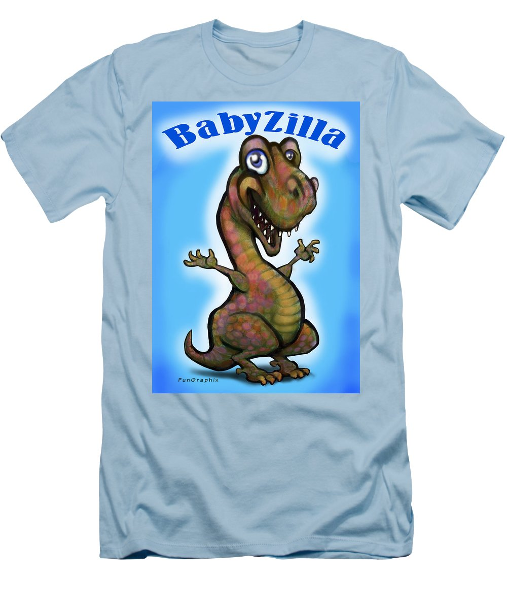 Babyzilla Men's T-Shirt (Athletic Fit) featuring the greeting card Babyzilla by Kevin Middleton