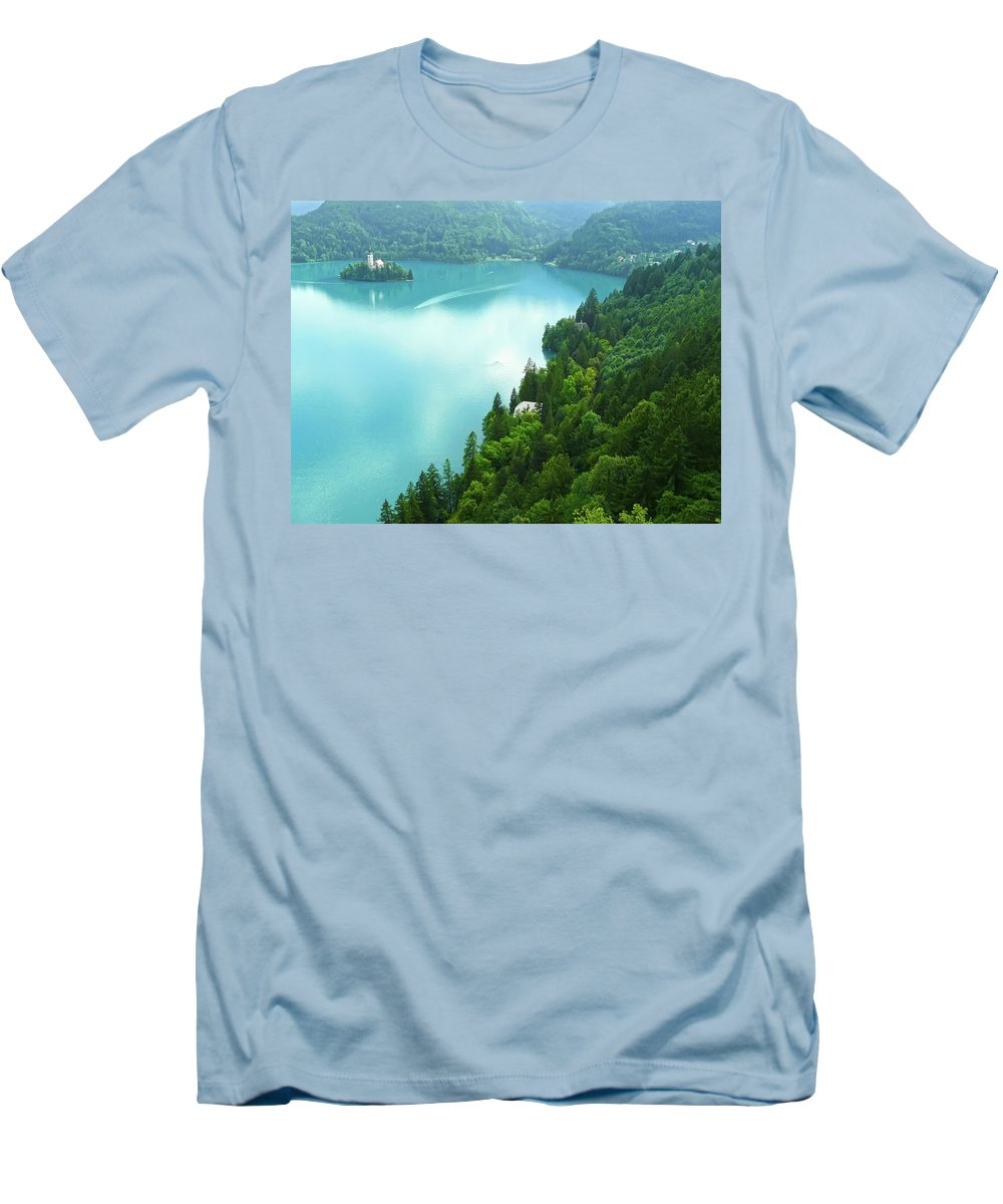 Island Men's T-Shirt (Athletic Fit) featuring the photograph Bled by Daniel Csoka