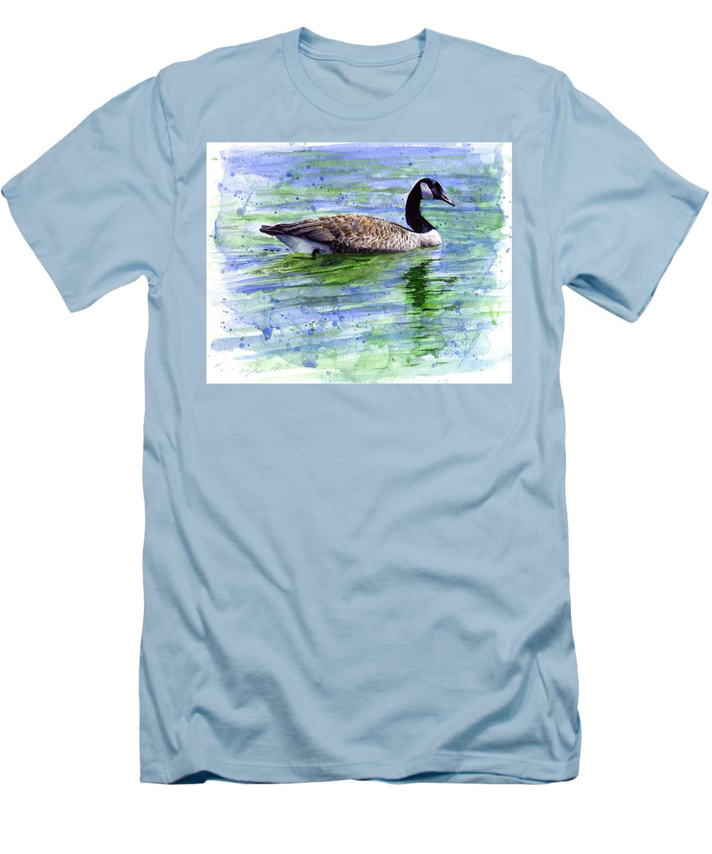 Bird Men's T-Shirt (Athletic Fit) featuring the painting Canada Goose by John D Benson