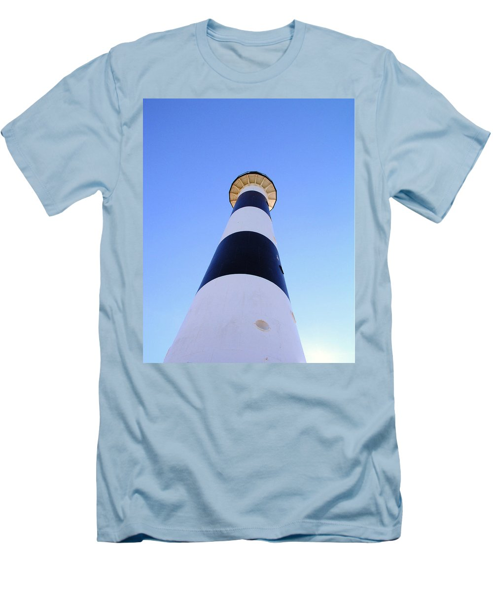 Cape; Canaveral; Light; Lighthouse; Lighthousekeeper; Keeper; Stairs; Kennedy; Space Center; Air For Men's T-Shirt (Athletic Fit) featuring the photograph Canaveral Light by Allan Hughes