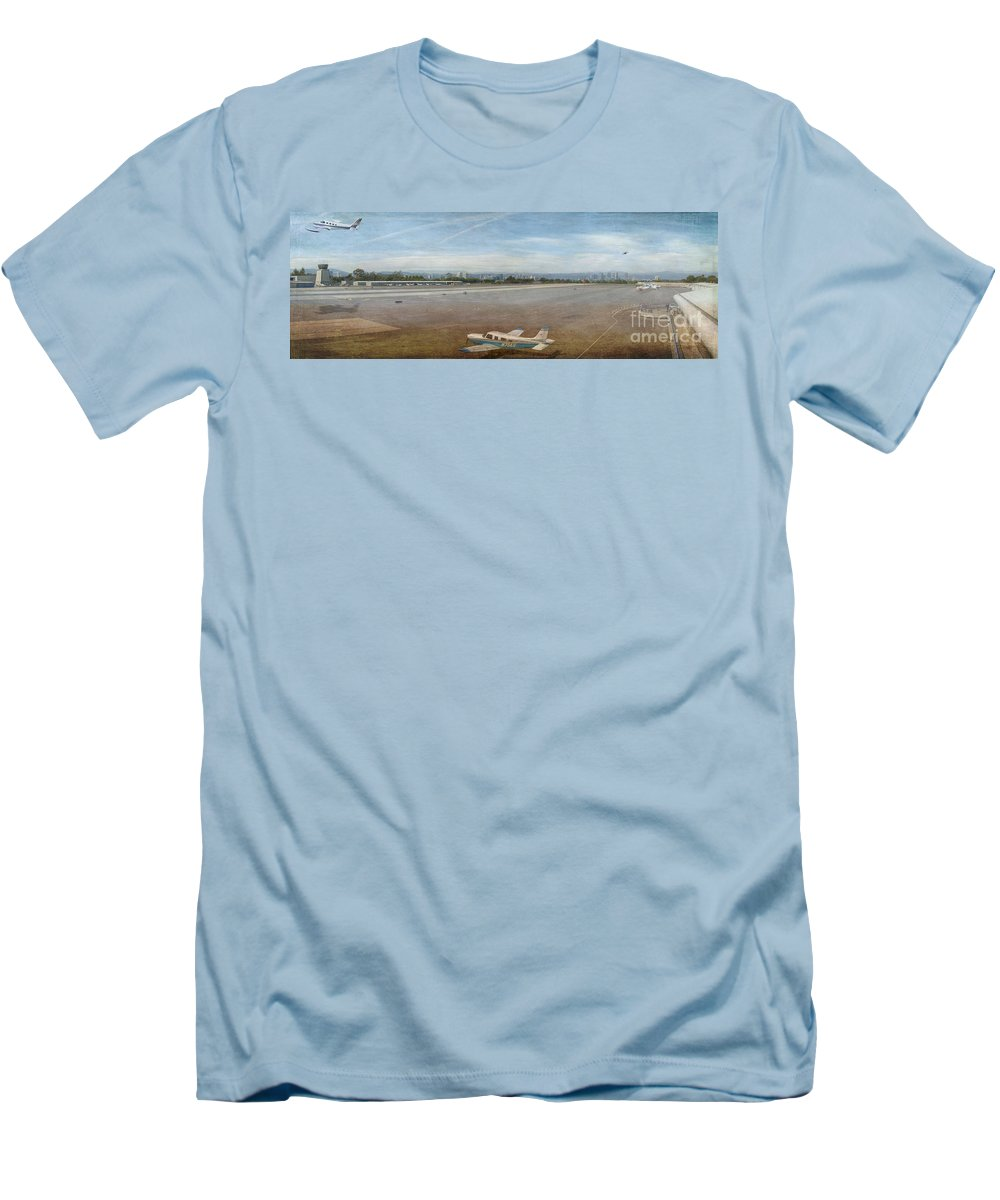 Small City Airport Planes Taking Off Fine Art Photograph Digital Watercolor Texture Overlay Men's T-Shirt (Athletic Fit) featuring the photograph Small City Airport Plane Taking Off by David Zanzinger