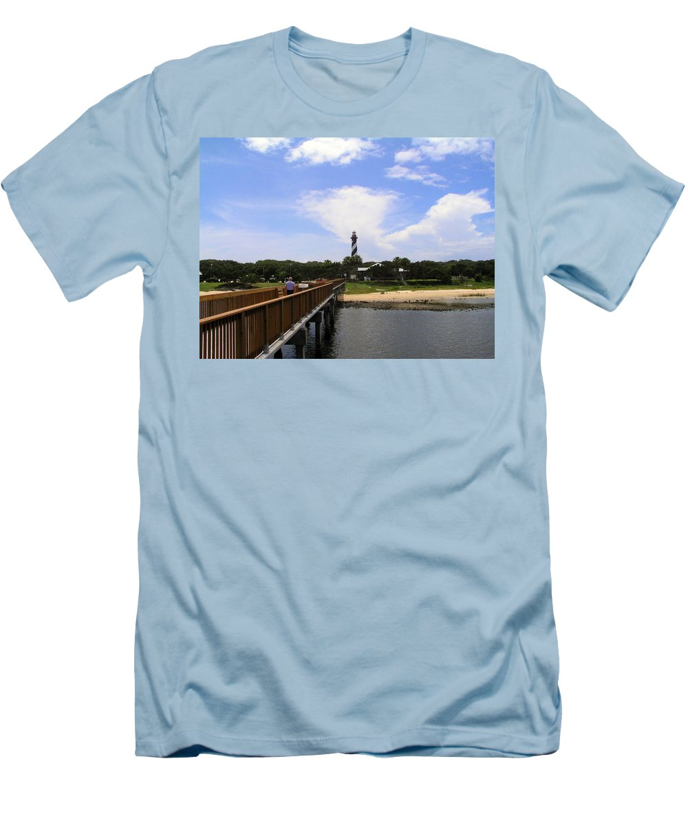 Lighthouse; Light; House; Keeper; St. Augustine; Florida; Coast; Shine; Fog; Storms; U.s.; Coast Gua Men's T-Shirt (Athletic Fit) featuring the photograph St Augustine Light On The Atlantic Coast Of Florida by Allan Hughes