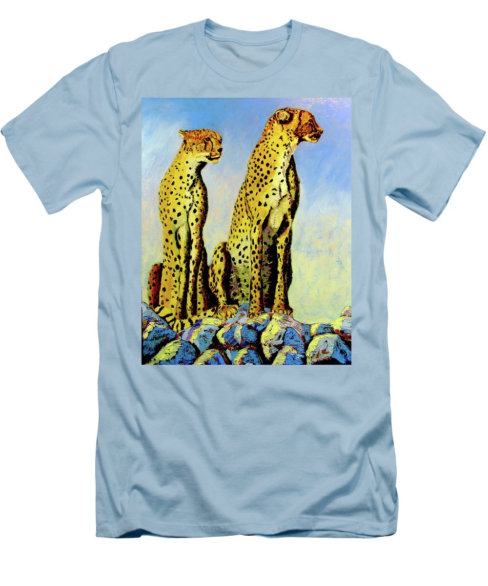 Cheetahs Men's T-Shirt (Athletic Fit) featuring the painting Two Cheetahs by Stan Hamilton