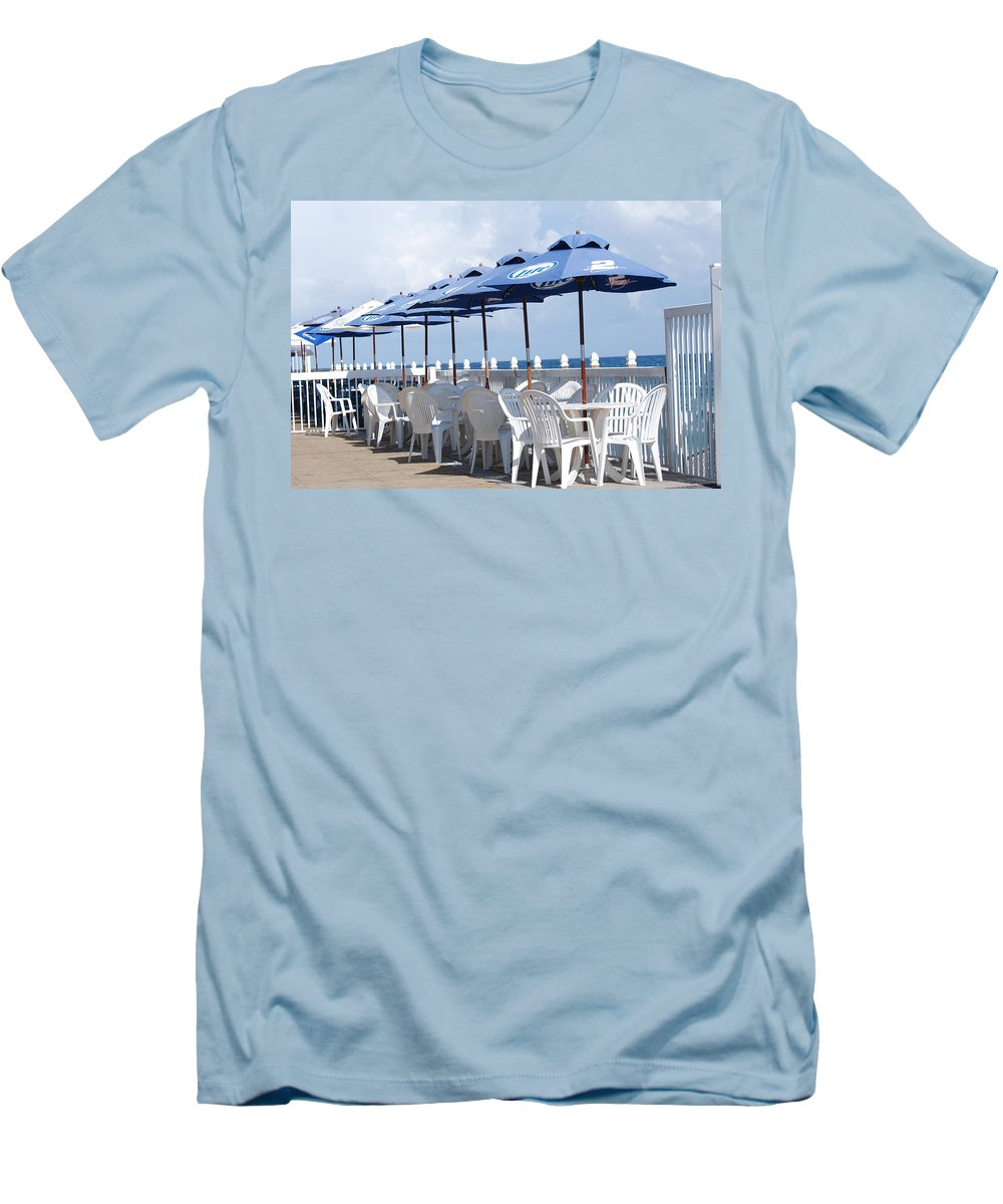 Chairs Men's T-Shirt (Athletic Fit) featuring the photograph Beer Unbrellas by Rob Hans